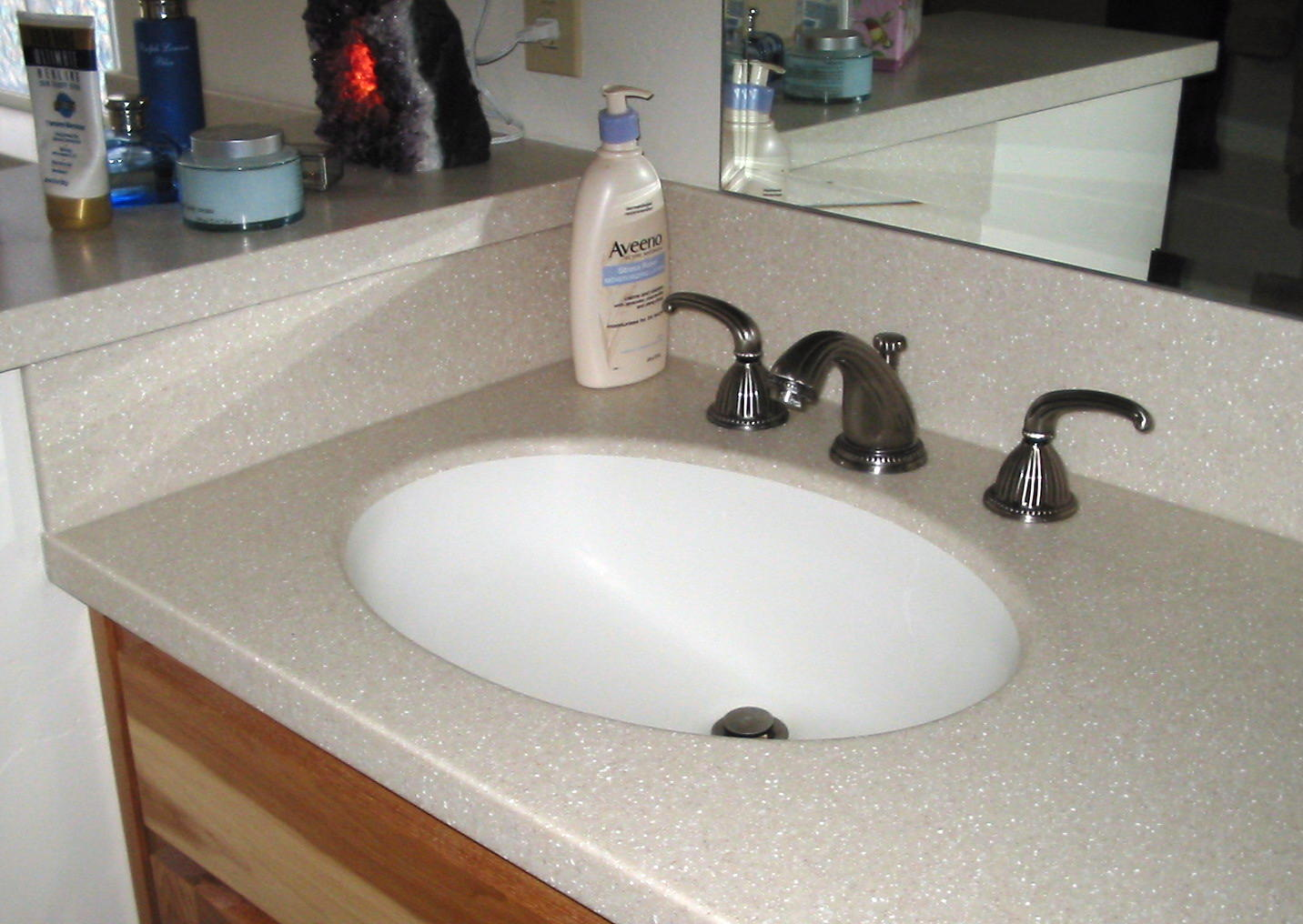 new bathroom vanity using lg himacs acrylic solid surface deck and
