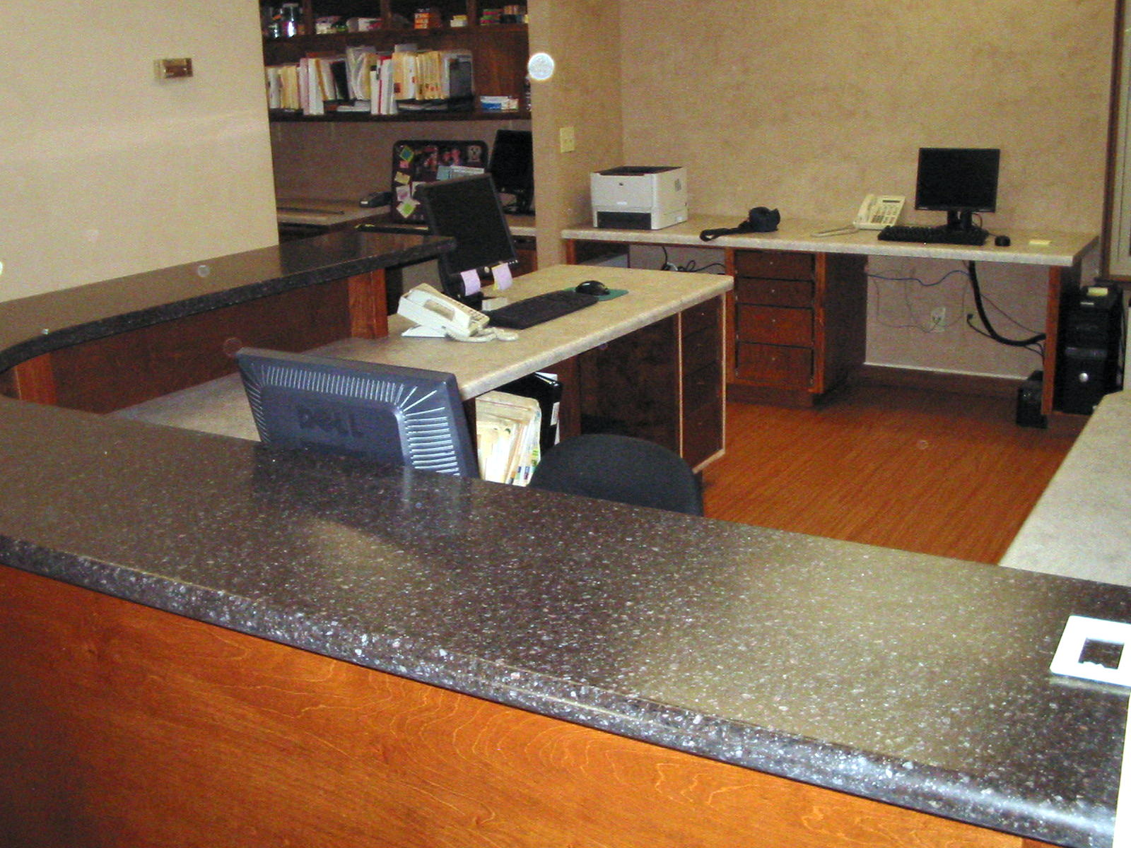Laminate Bar Countertops : Dentist office laminate countertop work area.